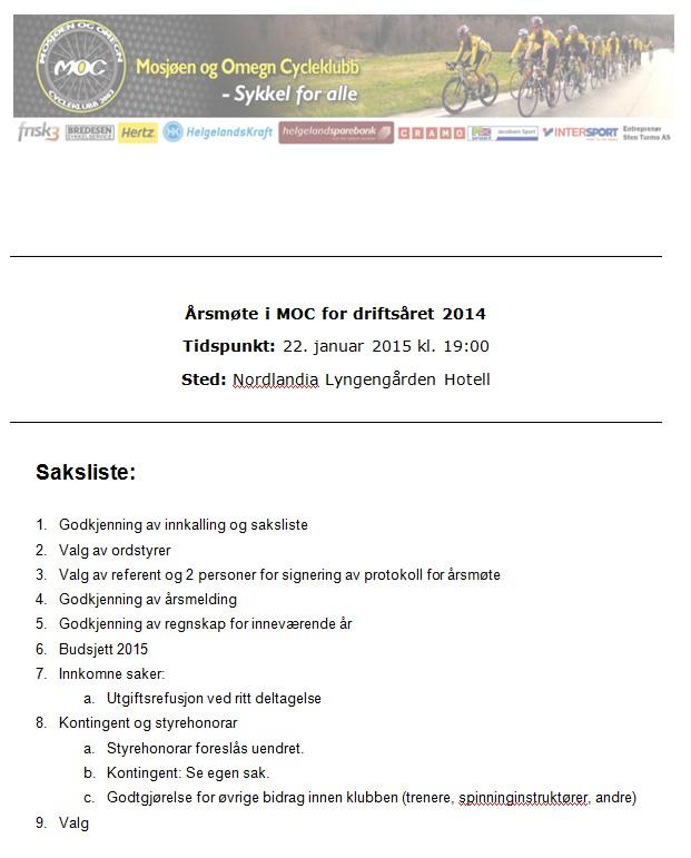 Bilde av innkalling til årsmøte for 2014, 22. januar 2015 kl. 19.00 på Lyngengården