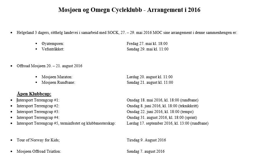 MOC's arrangement 2016